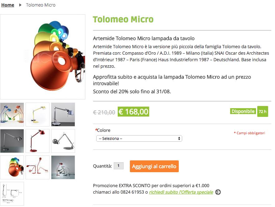 Tasso di conversione e-commerce Tolomeo