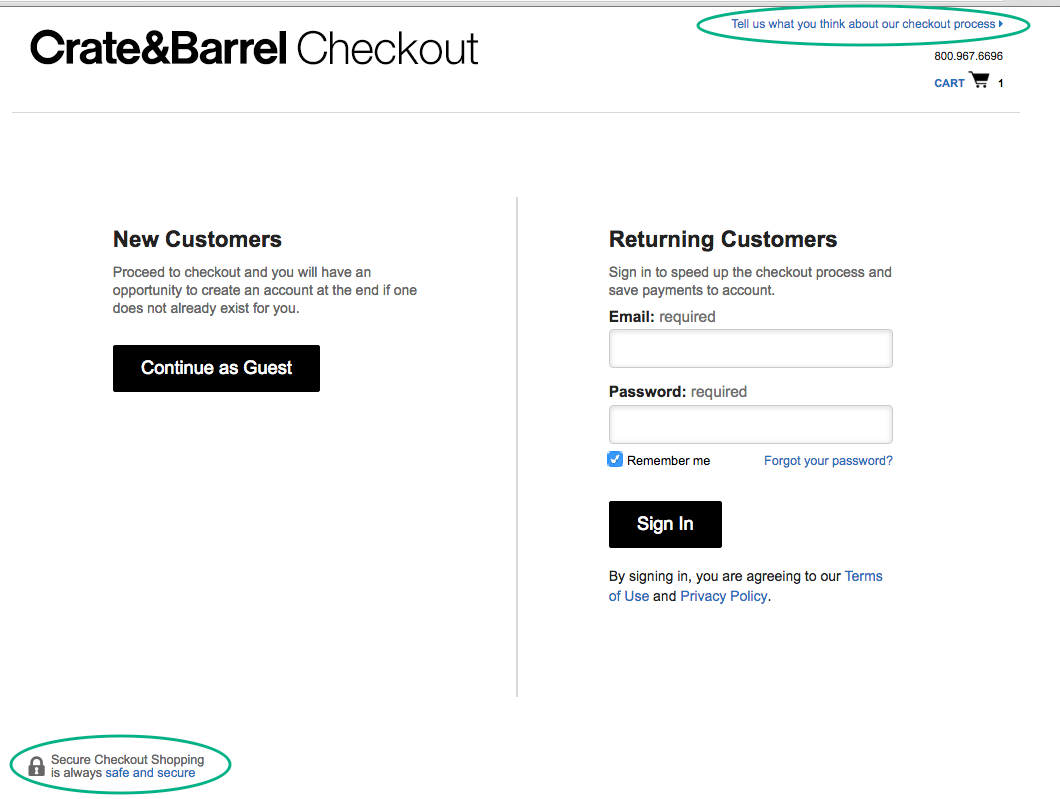ecommerce best practices Checkout Crate&Barrel micro contenuti