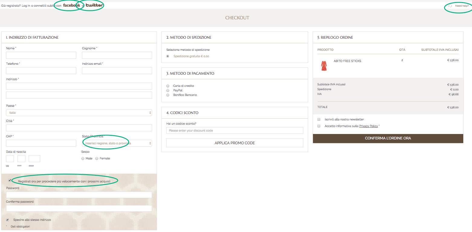 ecommerce best practices Checkout micro contenuti ecommerce